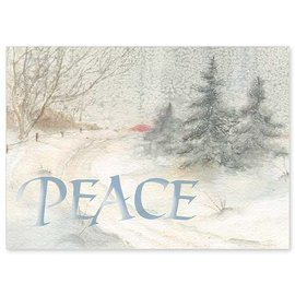 Package  Christmas Cards - Silver Peace, Winter Country Road