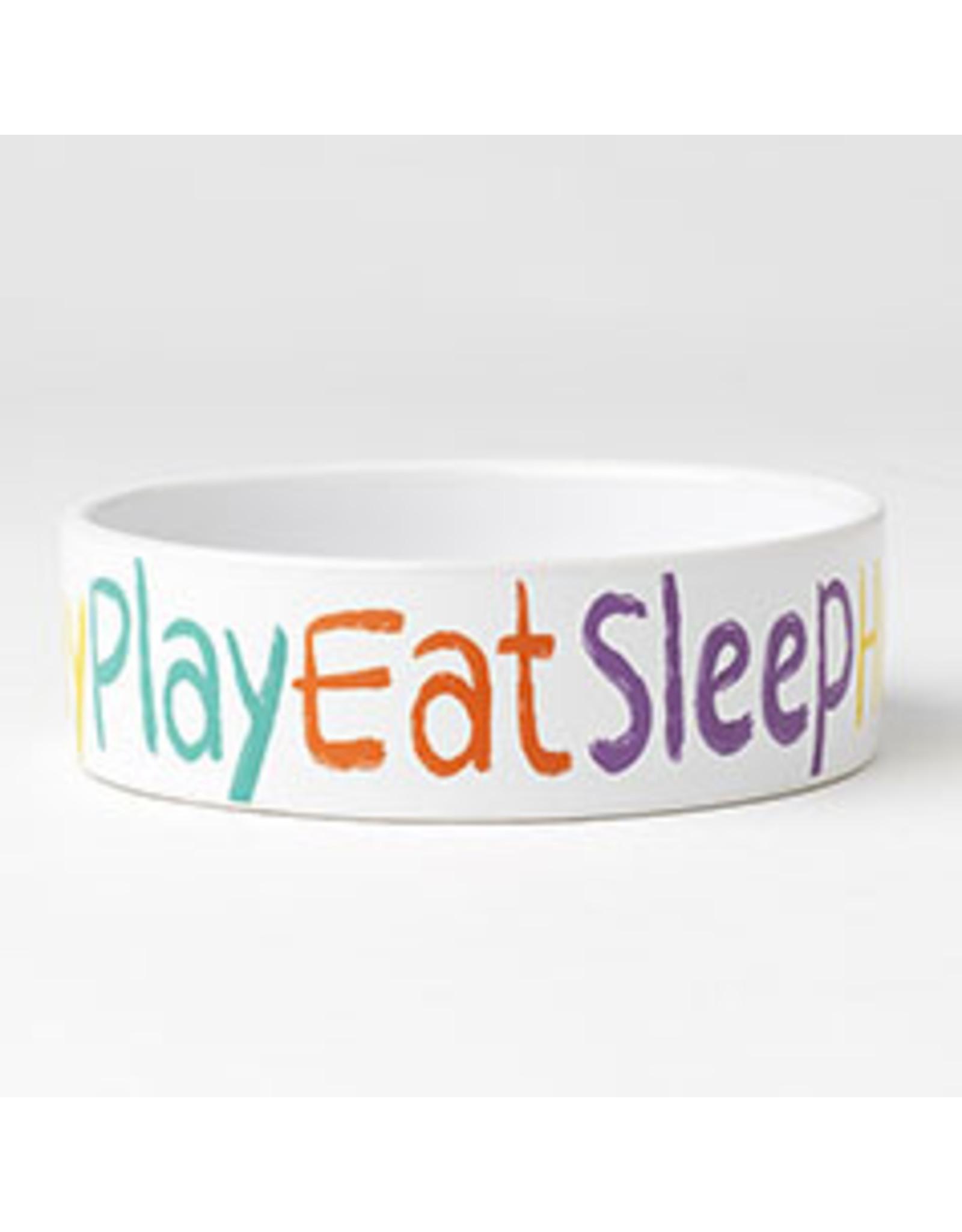 """PetRageous Crayon Pup 5"""" - Play.Eat.Sleep. Bowl"""