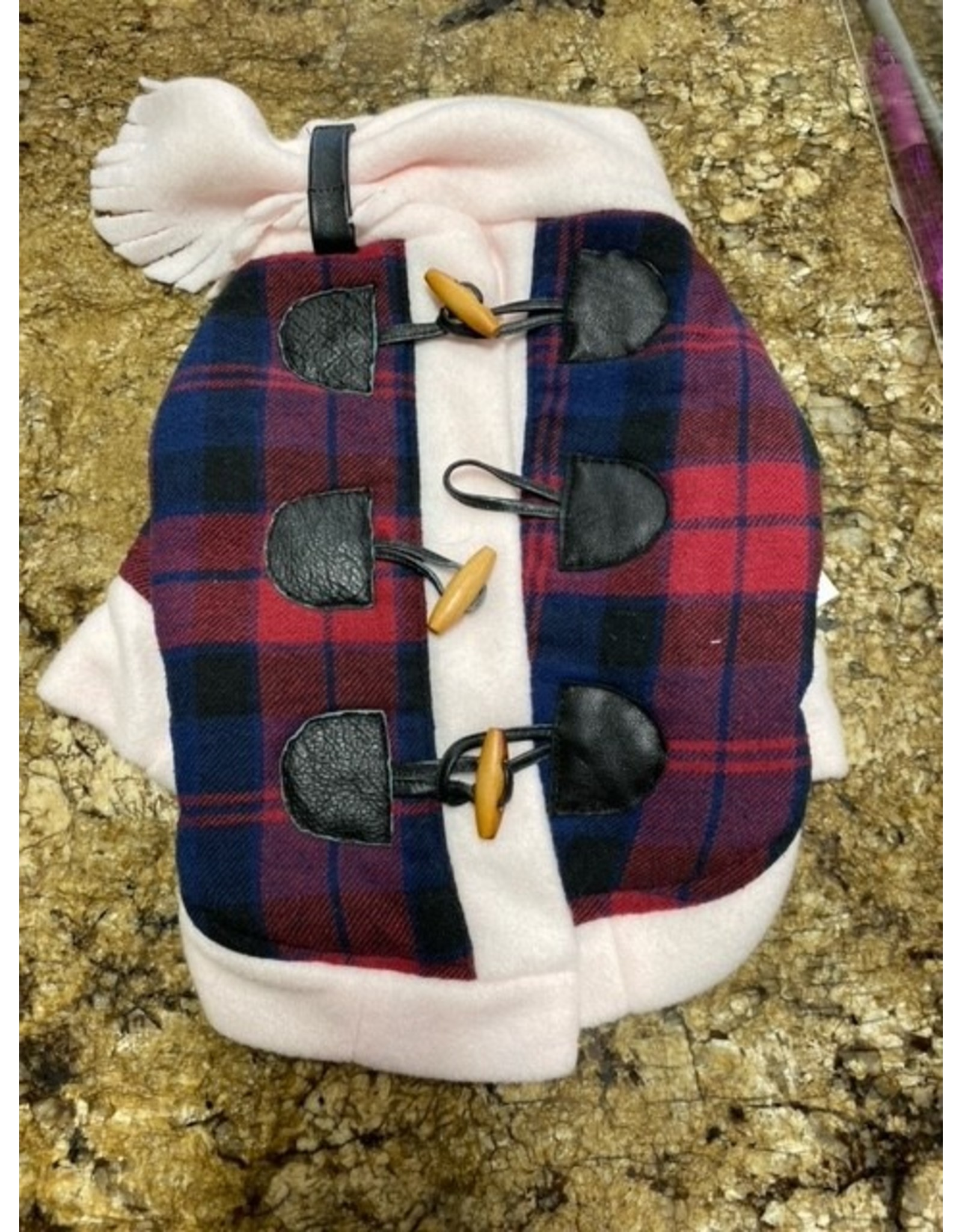 Ruff-Stitched Blue & Red Plaid Toggle Coat - Small