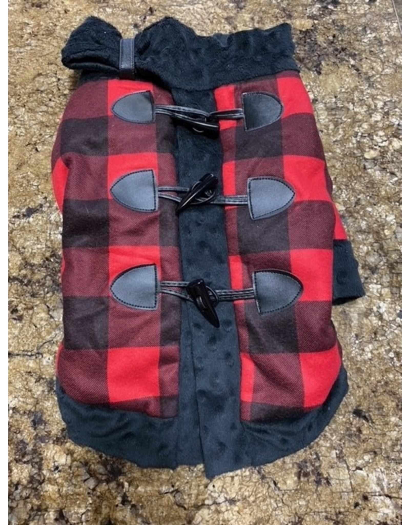 Ruff-Stitched Red Plaid Toggle Coat - Small