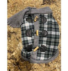 Ruff-Stitched Grey Plaid Toggle Coat - Medium