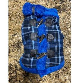 Ruff-Stitched Blue Paid Toggle Coat - Large