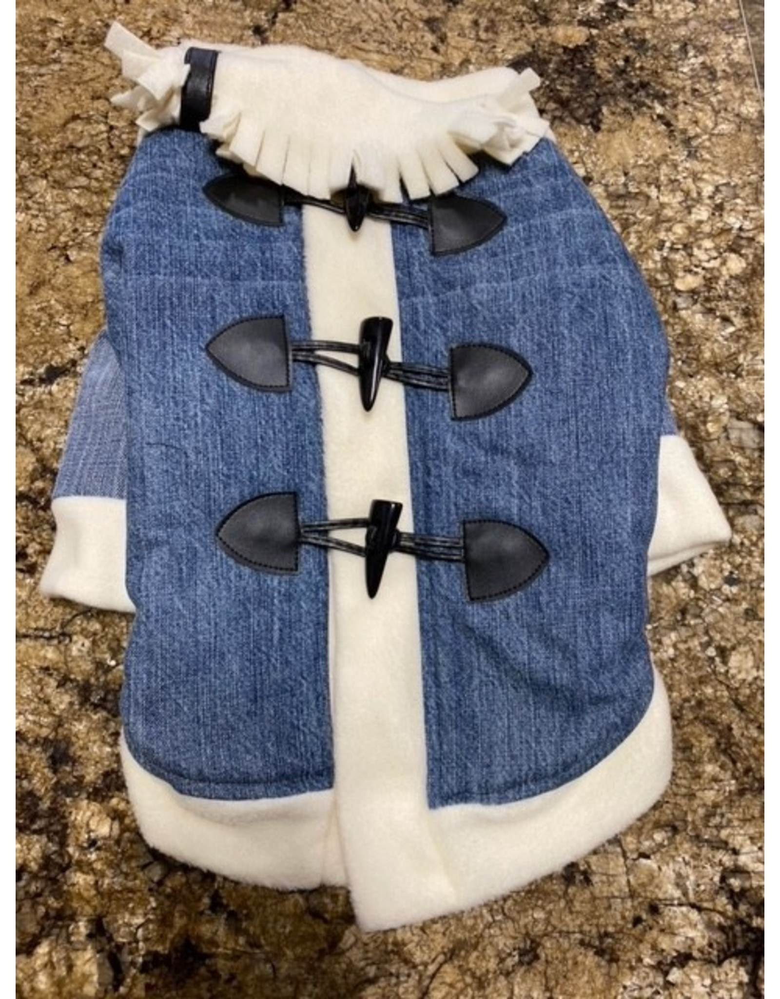 Ruff-Stitched Blue Jean Toggle Coat - Large