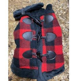 Ruff-Stitched Red Plaid Toggle Coat - Large