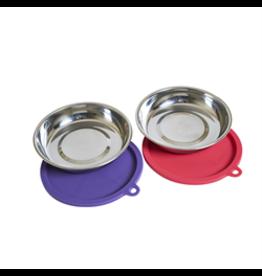 Messy Cats 4pc Set Saucer Bowls with lids (watermelon & purple)