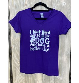 CocoMutts I Work Hard So My Dog Can Have A Better Life - Women's V-Neck T-Shirt