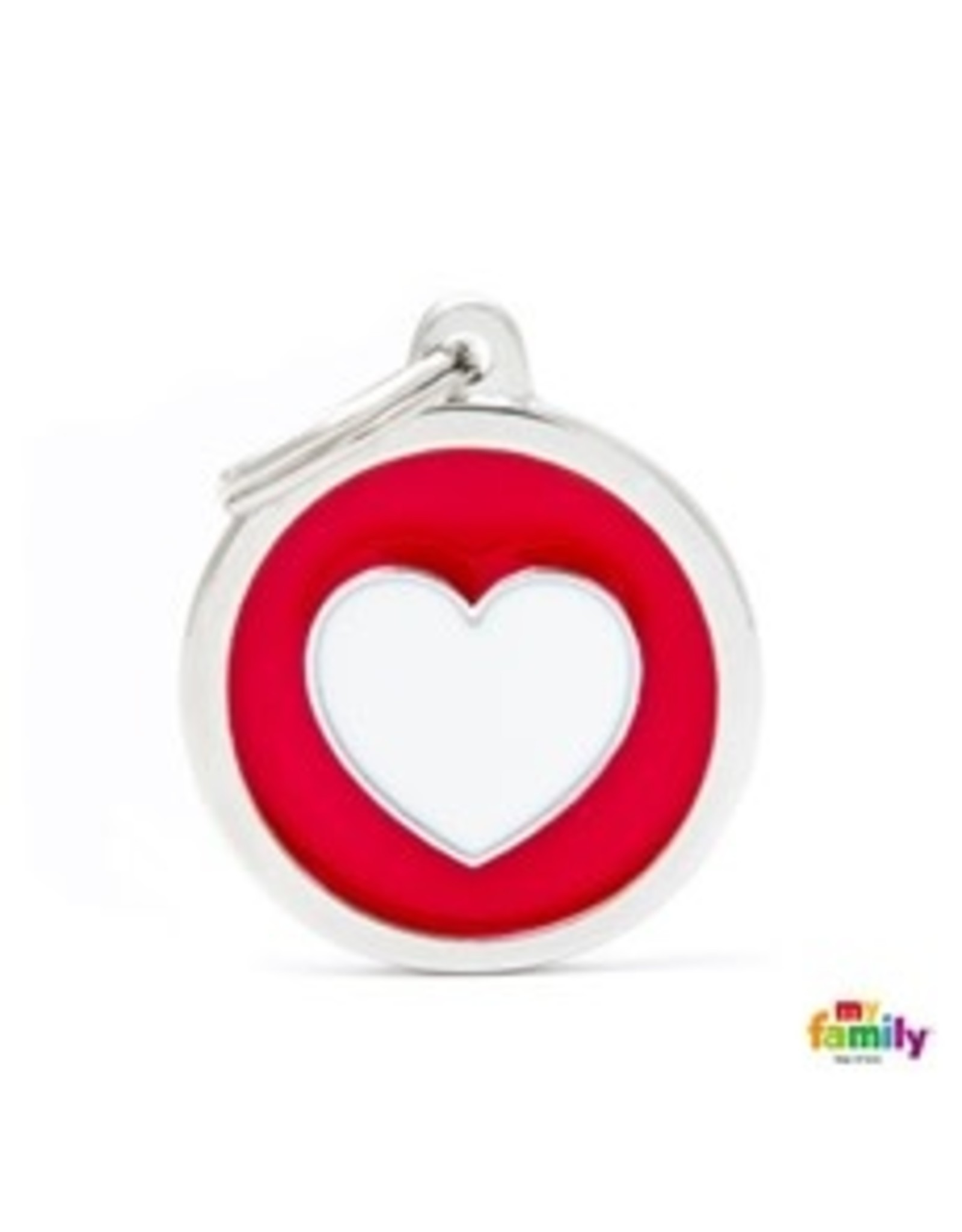 MyFamily Tag - Red Circle White Heart