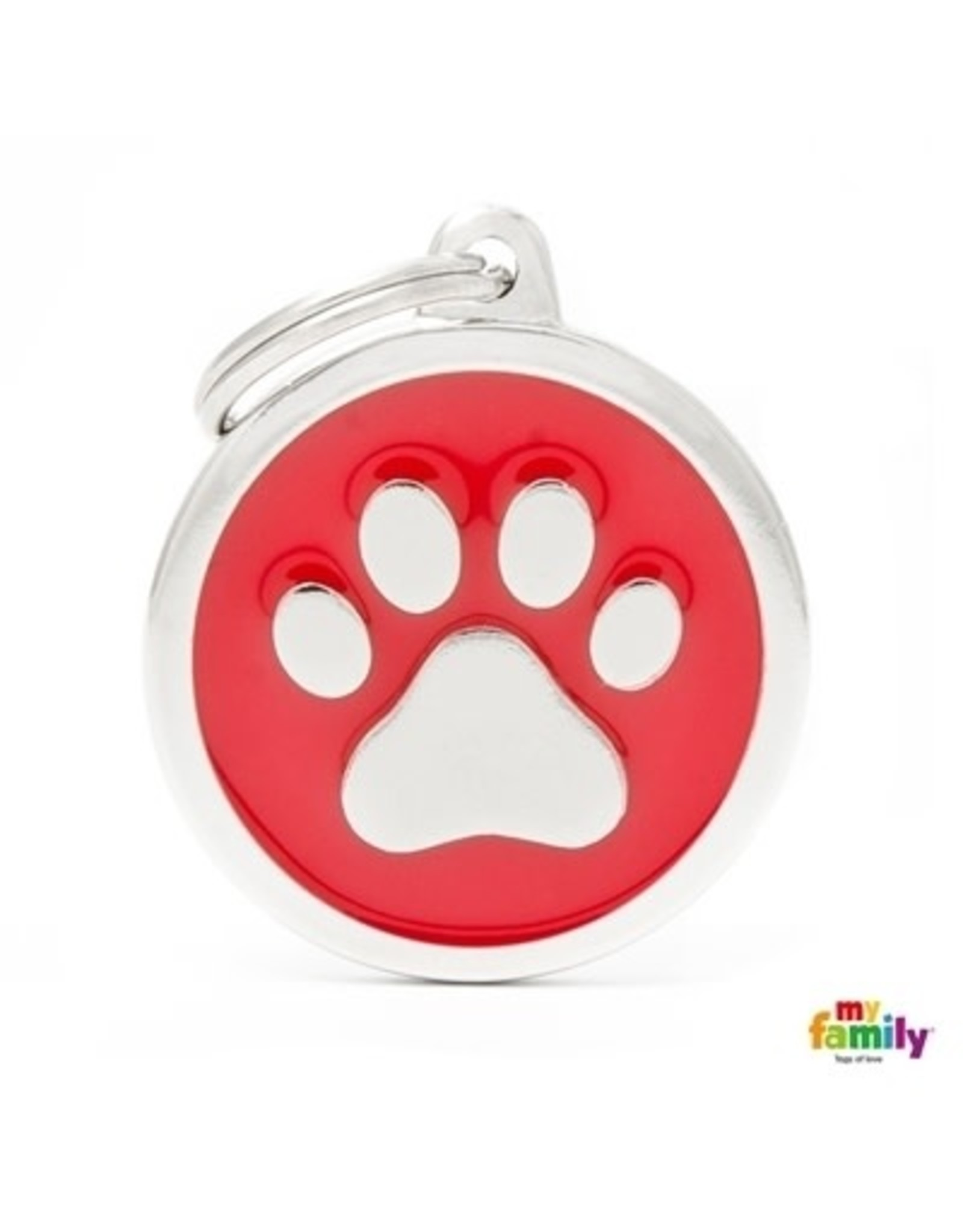 MyFamily Tag - Red Big Circle Paw