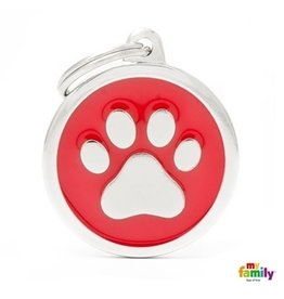 MyFamily Tag - Red Big Circle Paw
