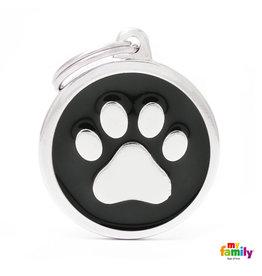 MyFamily Tag - Black Big Circle Paw