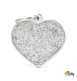 MyFamily Tag - Glitter Heart Grey