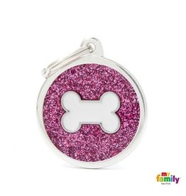 MyFamily Tag - Pink Big Glitter Circle with White Bone