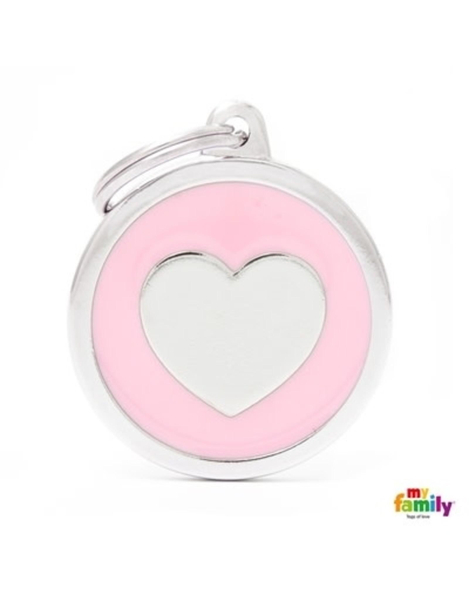 MyFamily Tag - Pink Big Circle Heart