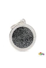 MyFamily Tag - Black Glitter Circle