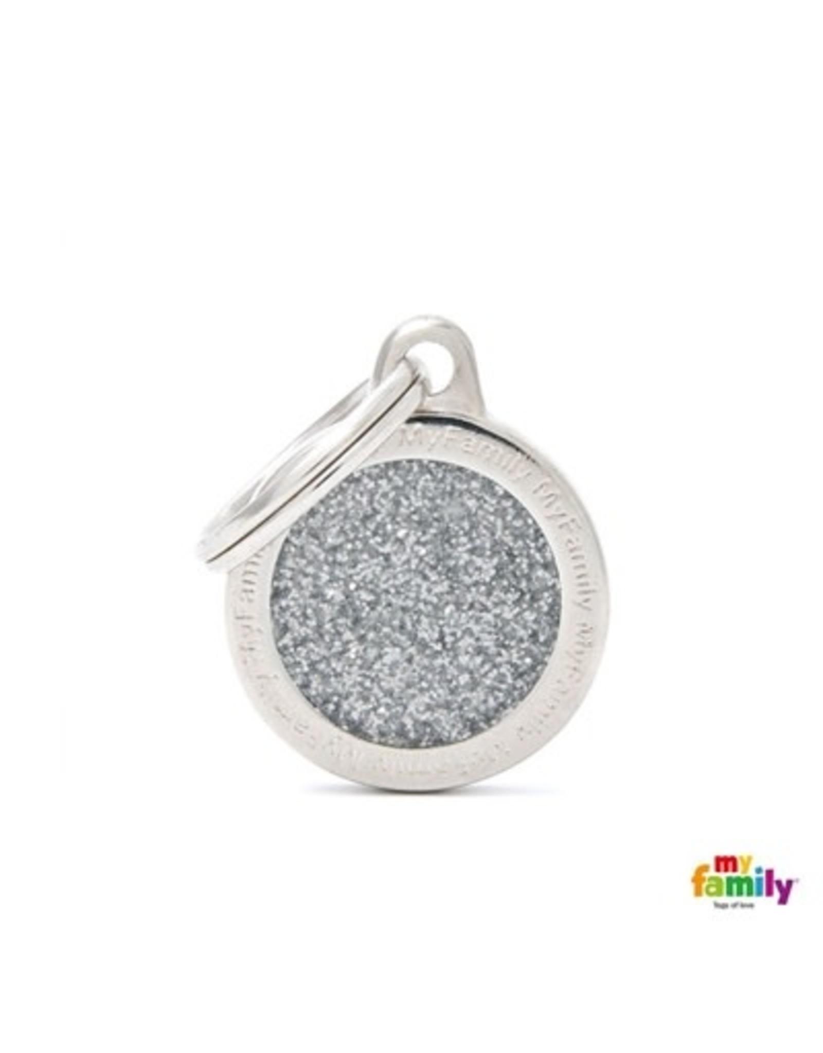 MyFamily Tag - Silver Glitter Circle