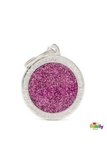 MyFamily Tag - Pink Glitter Circle