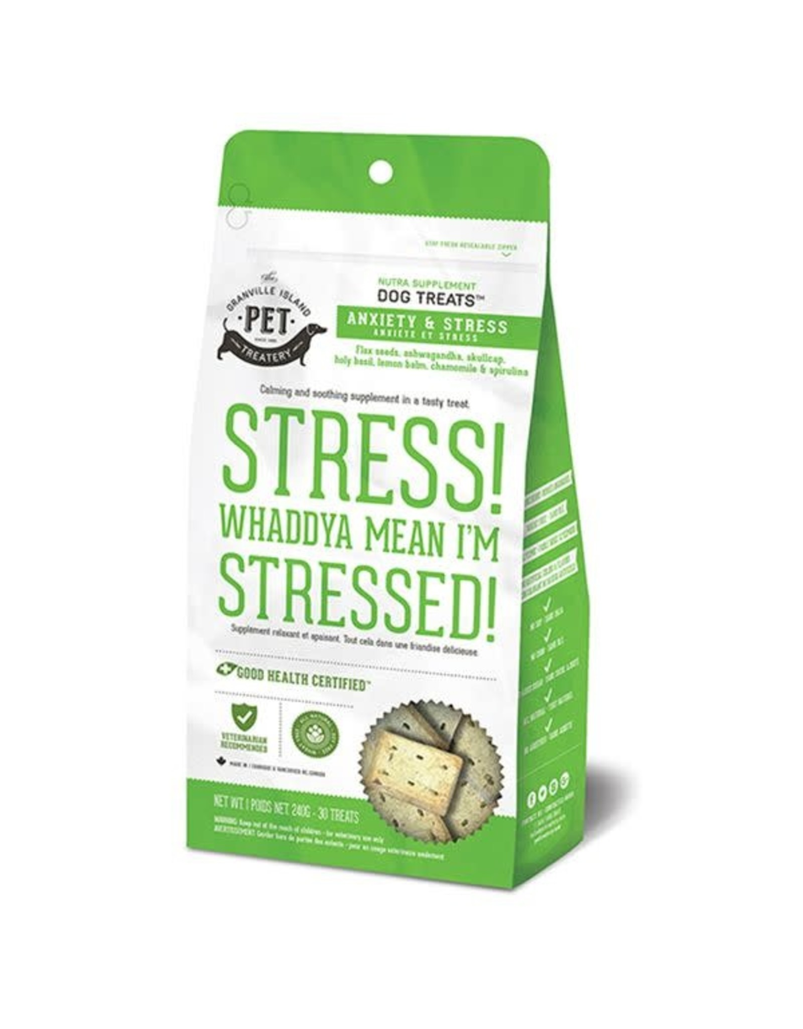 Granville Island Pet Treatery Granville Anxiety and Stress Treats Whaddya Mean Stressed Dog 1X240G