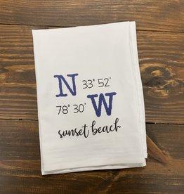 DISH TOWEL LATITUDE LONGITUDE WHITE