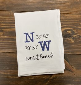 LATITUDE LONGITUDE WHITE DISH TOWEL