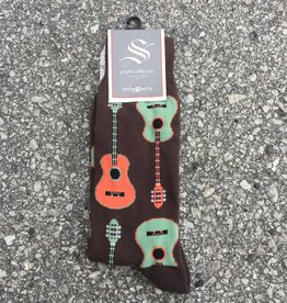 GUITARS BROWN MENS SOCK