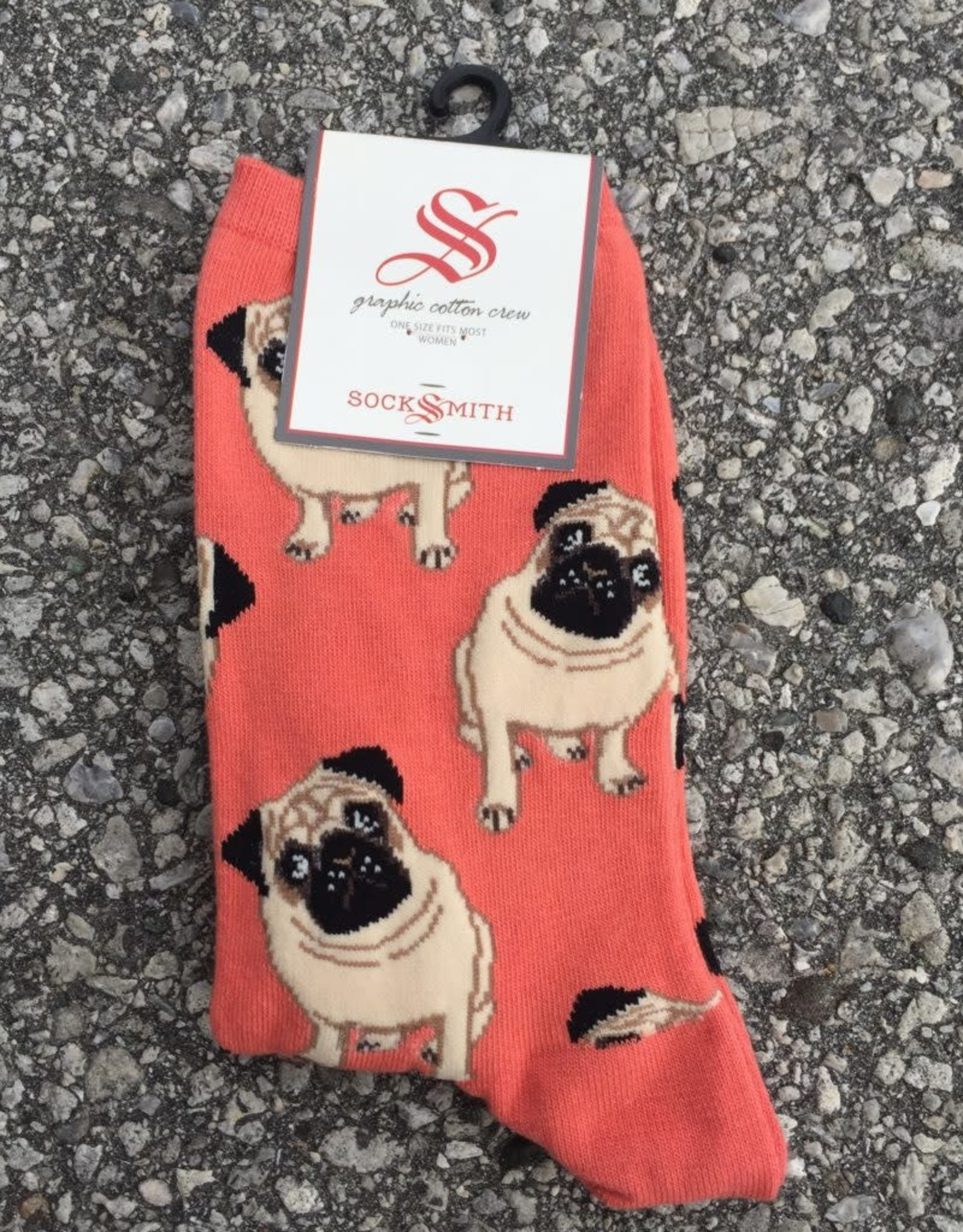 PUGS PEACH WOMENS SOCK