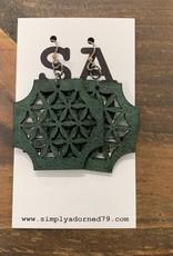 SA79 - THE HONEYCOMB - GREEN EARRING