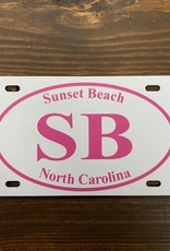SB EURO PINK ON WHITE LICENSE PLATE