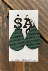 SB TEARDROP - GREEN EARRING