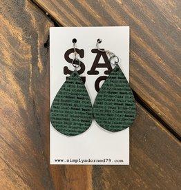 SA79 - SB TEARDROP - GREEN EARRING