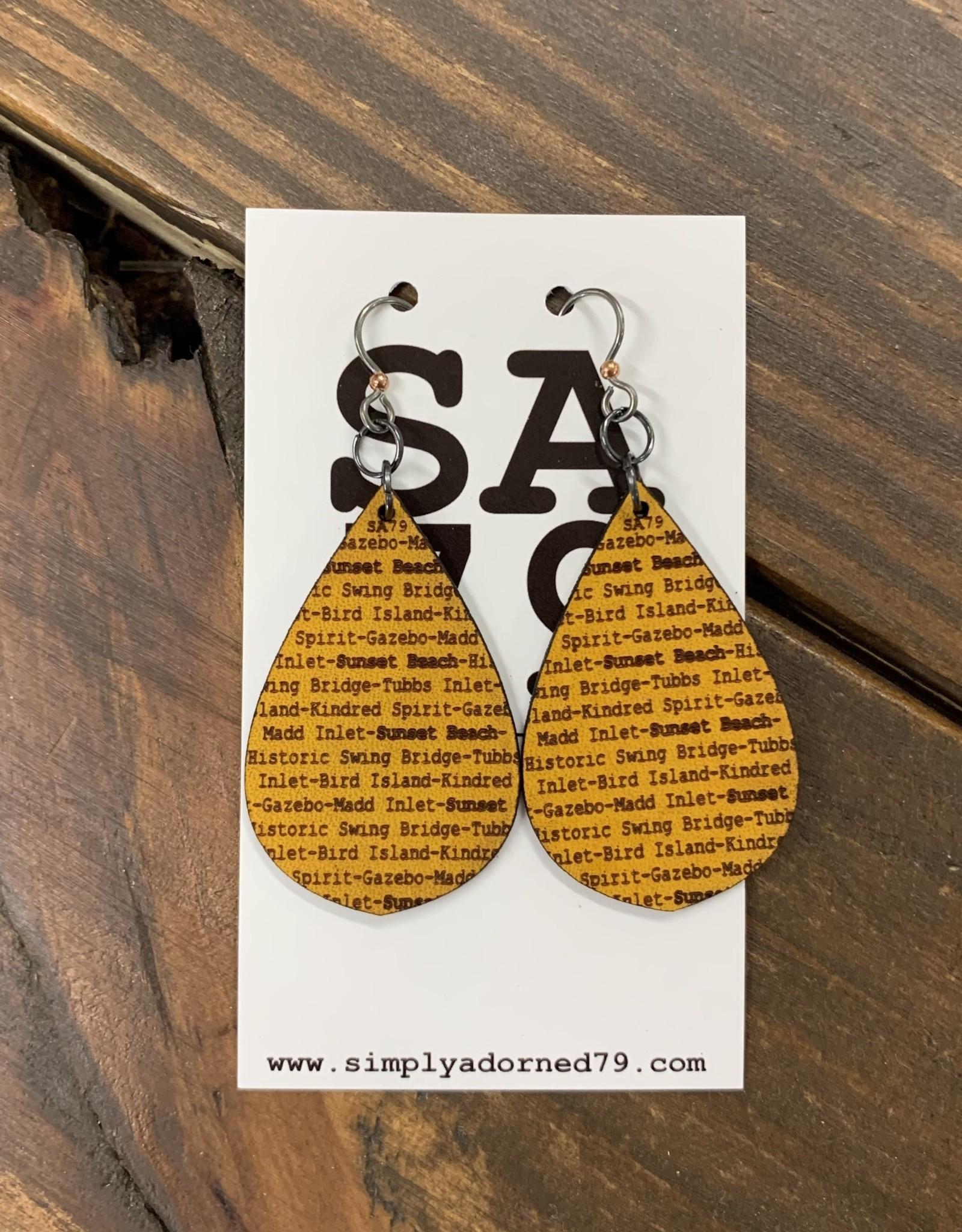 SA79 - SB TEARDROP - YELLOW EARRING