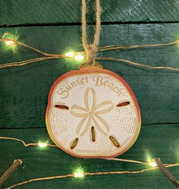 LRG SAND DOLLAR ORNAMENT (RED/ORG OMBRE)