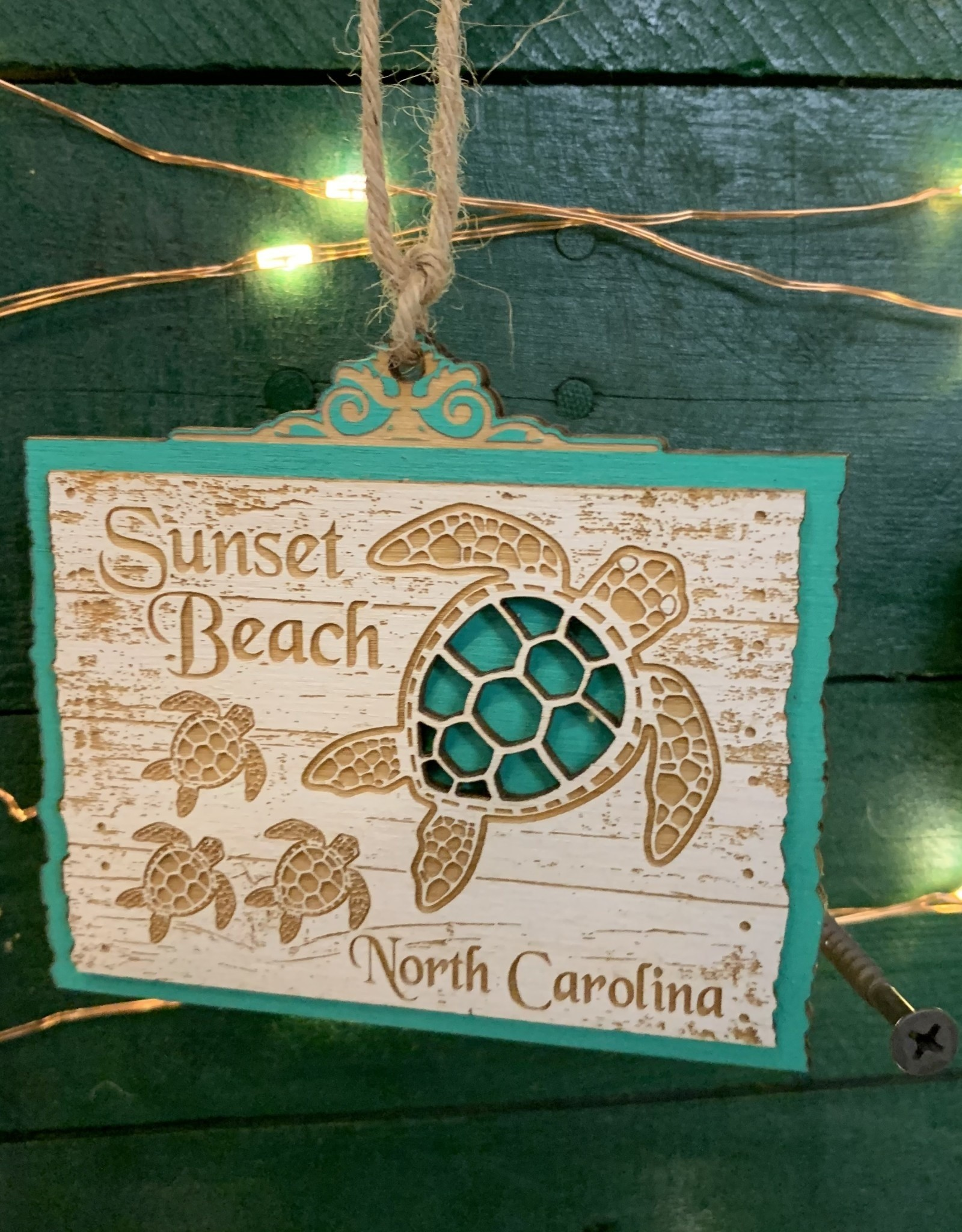 TURTLE FAMILY ORNAMENT (TEAL)
