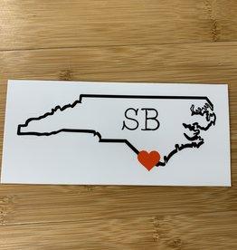 STICKER (L) HEART IN SB NC STATE