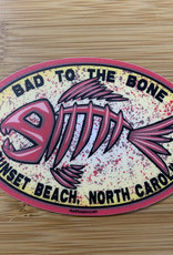 STICKER (L) BAD TO THE BONE FISH OVAL