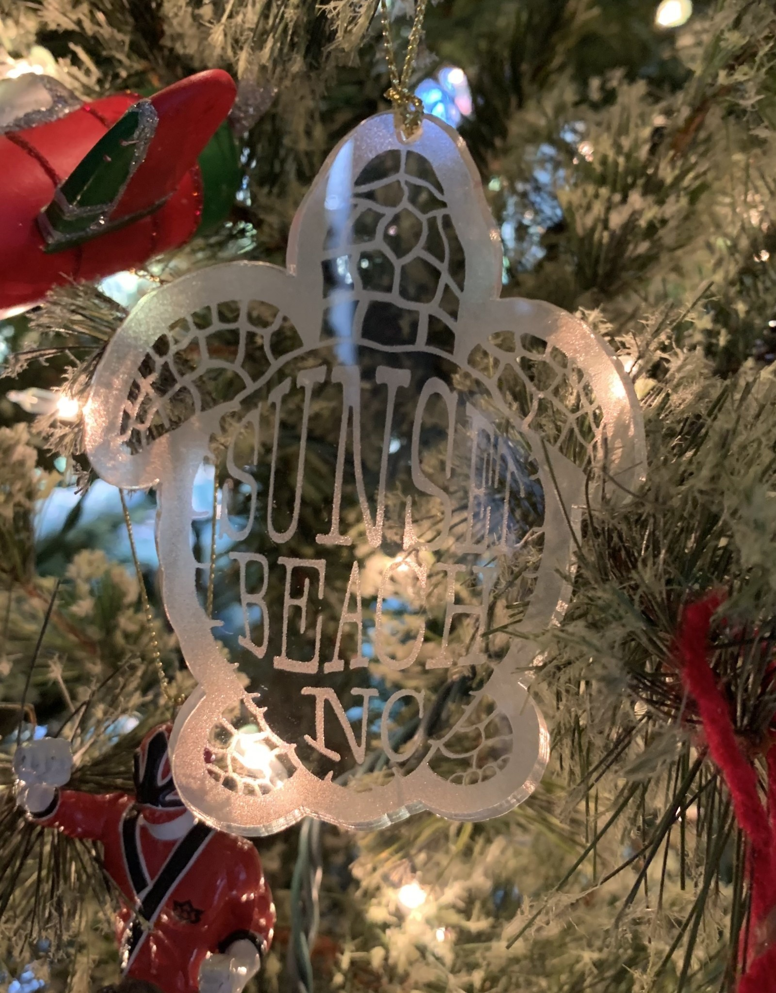 FROSTED ACRYLIC SBNC TURTLE ORNAMENT