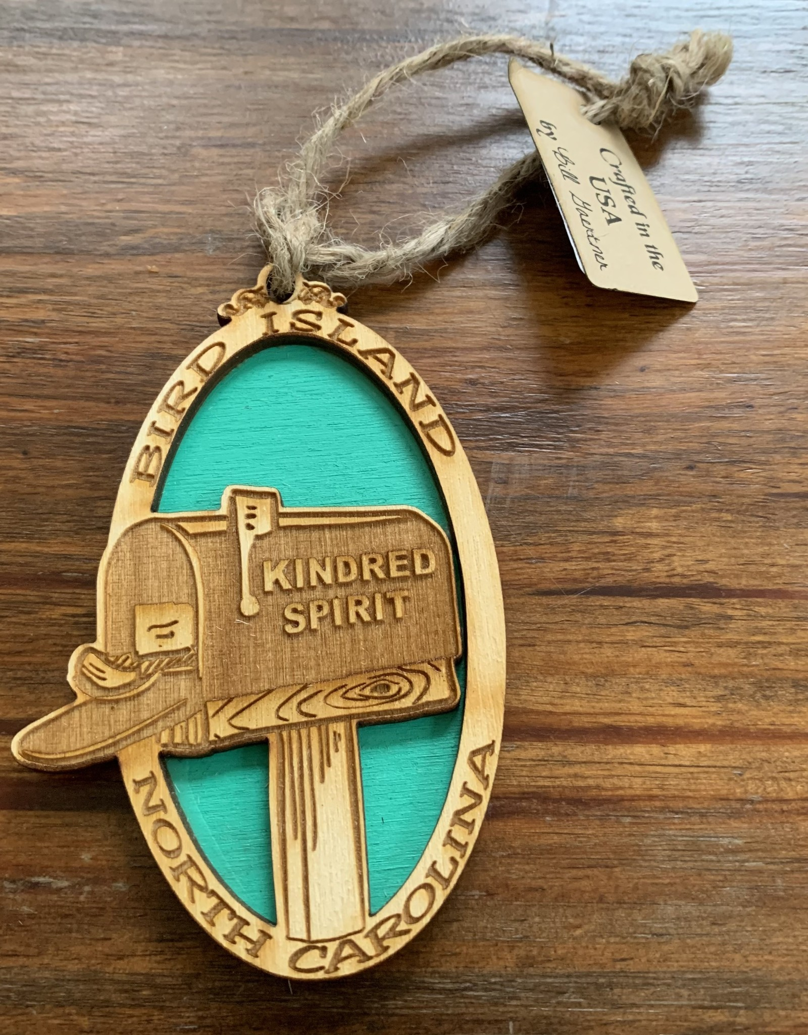 KINDRED SPIRIT KINDRED SPIRIT OVAL BILEVEL ORNAMENT (TEAL)