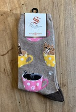 CAT-FEINATED WOMENS SOCKS HEMP HEATHER