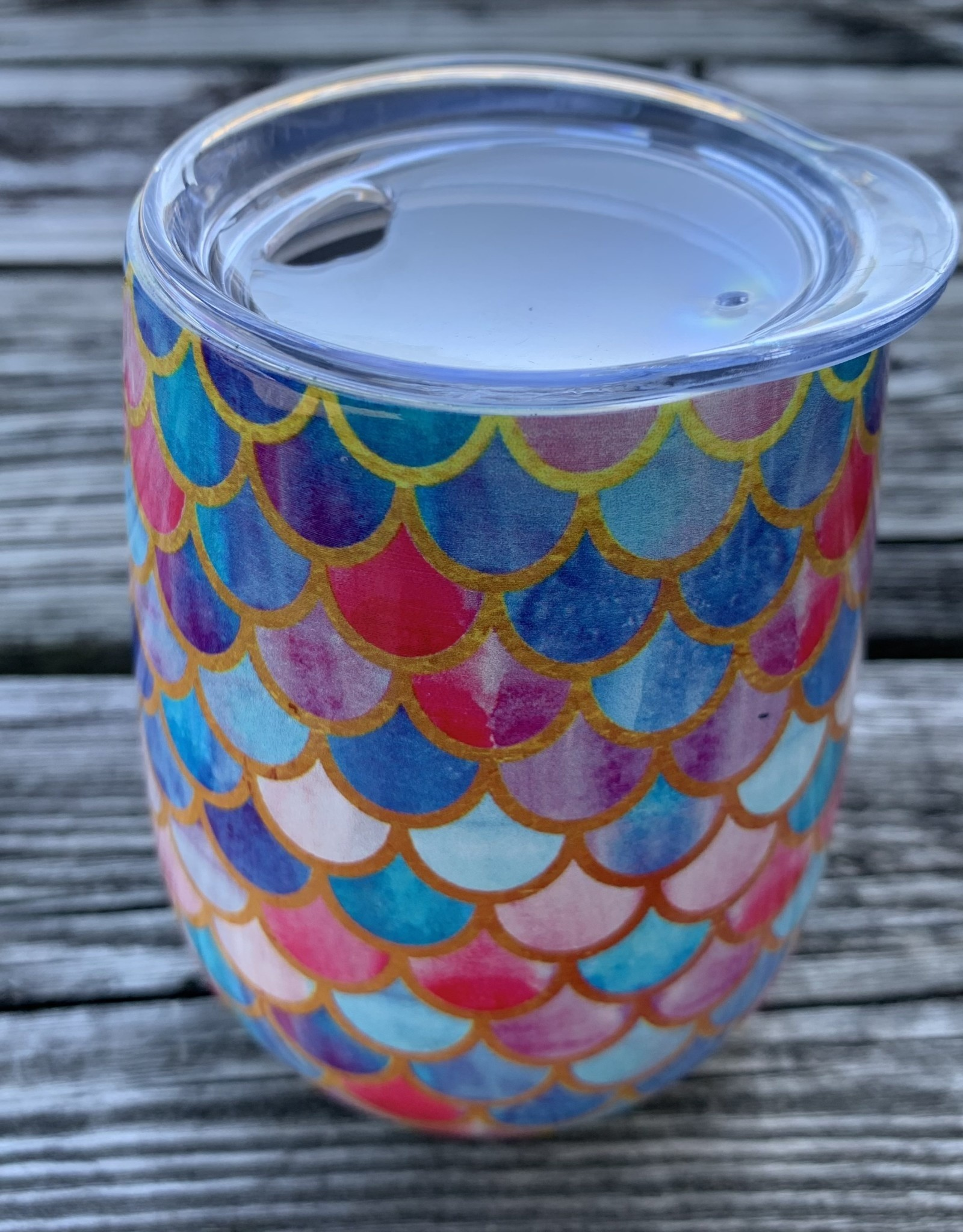 MERMAID SCALES STEMLESS SS WINE GLASS