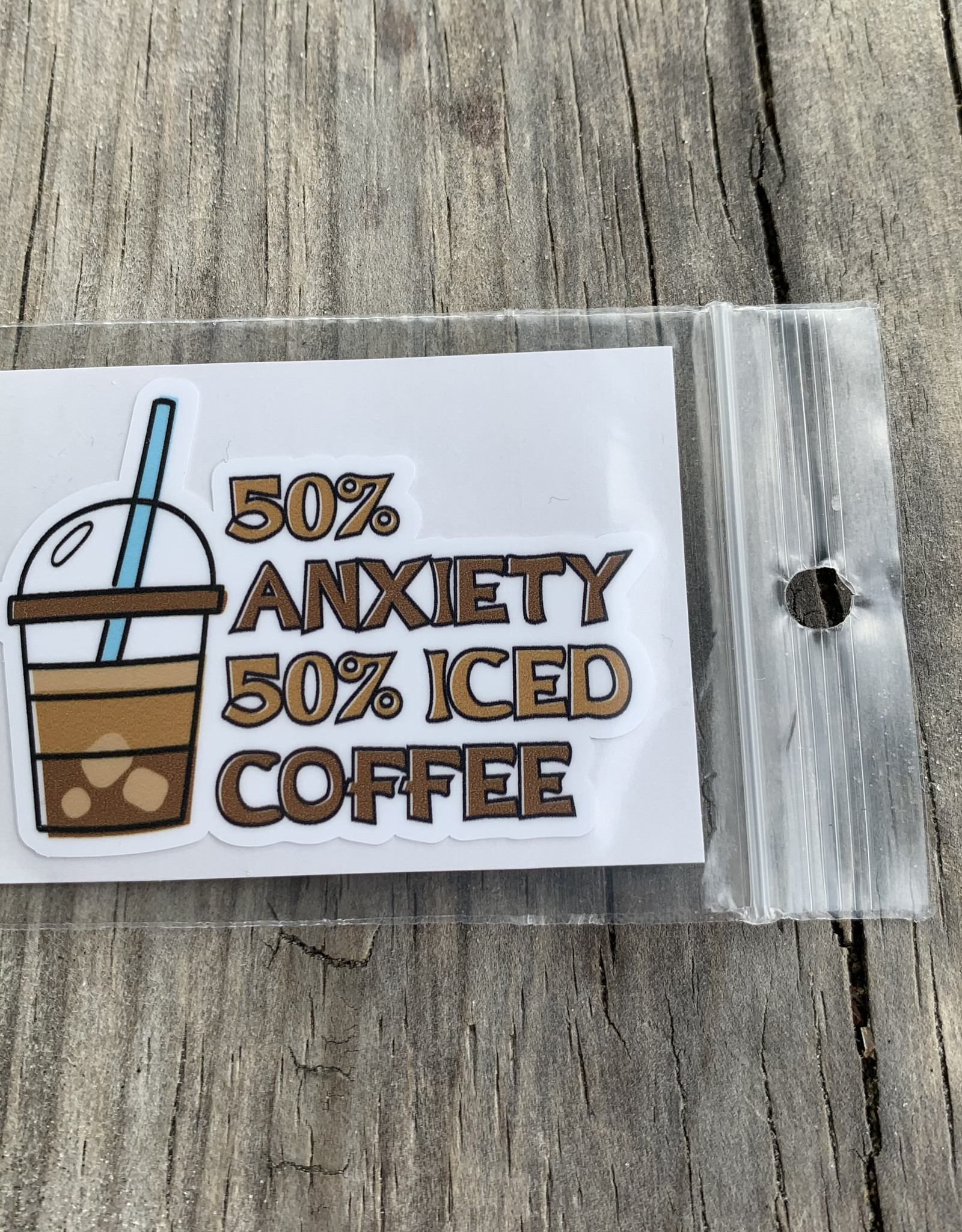 50% ANXIETY 50% COFFEE STICKER (CELL)