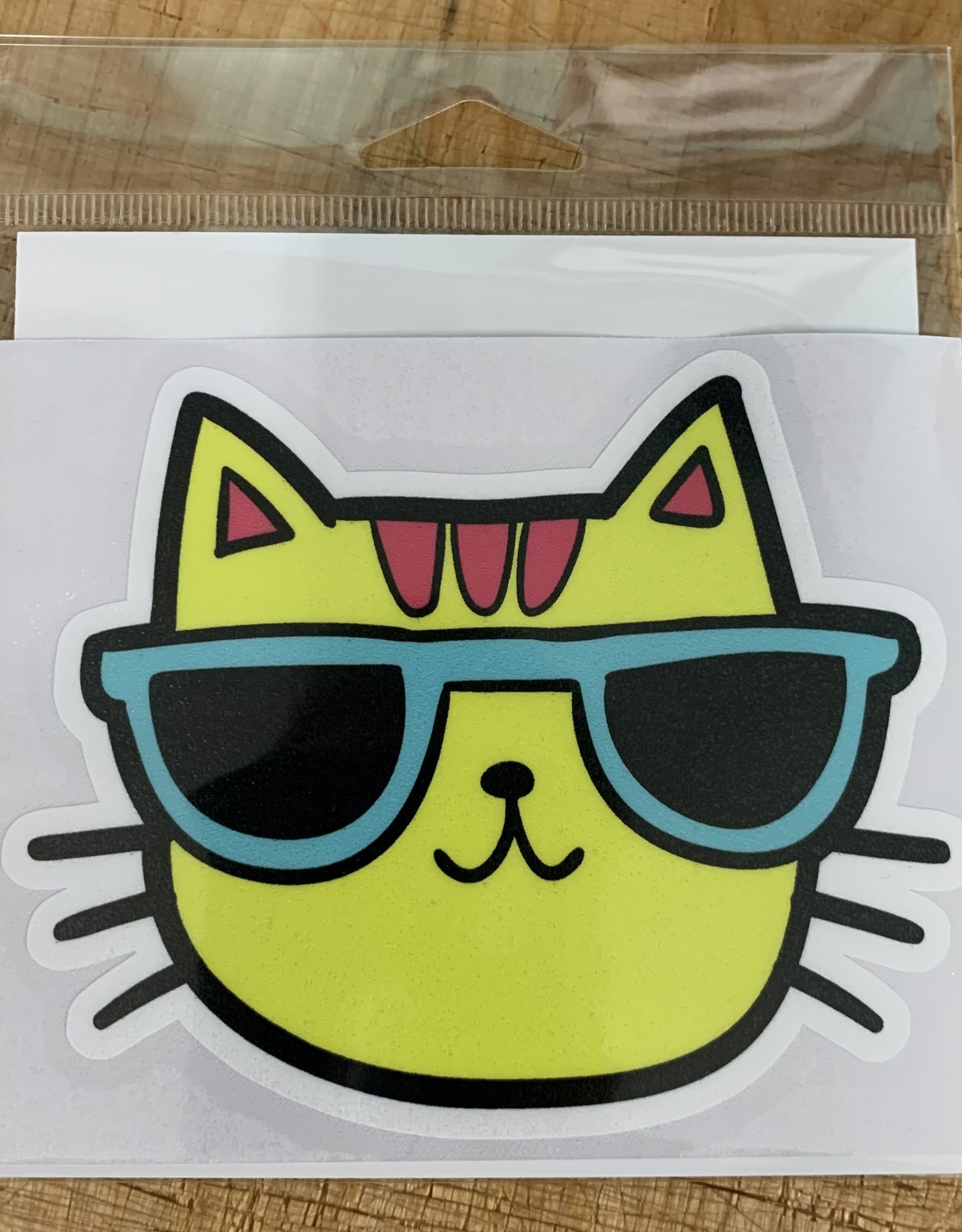 YELLOW CAT STICKER (LARGE)