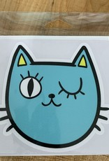 AQUA CAT STICKER (LARGE)