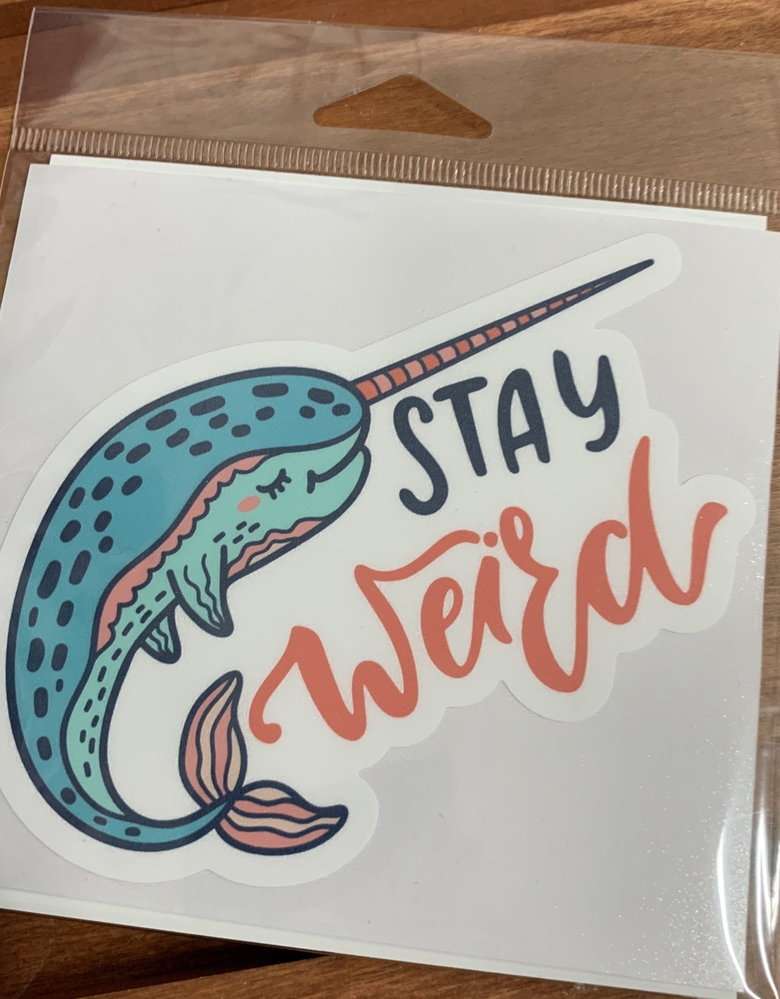 STAY WEIRD STICKER NARWHAL (LARGE)