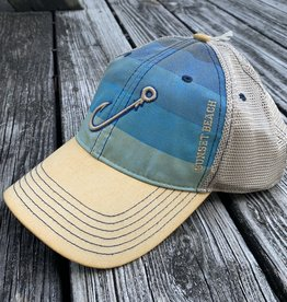HOOK OFA TRUCKER CAP BLUE STRIPES
