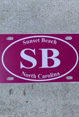 SB EURO WHITE ON PINK LICENSE PLATE