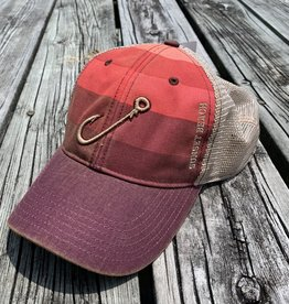 HOOK OFA TRUCKER CAP RED STRIPES