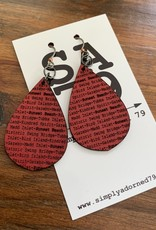 SA79 - SB TEARDROP - RED EARRING
