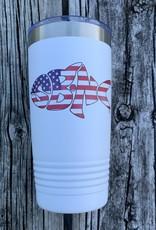 sbncfish SBNC FISH 20oz TUMBLER WHITE USA FLAG
