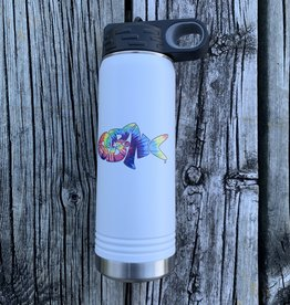 sbncfish SBNC FISH  20oz WHITE STRAW BOTTLE TIE-DYE RAINBOW