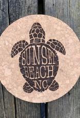 sbncfish SBNC TURTLE SHELL ROUND CORK COASTER