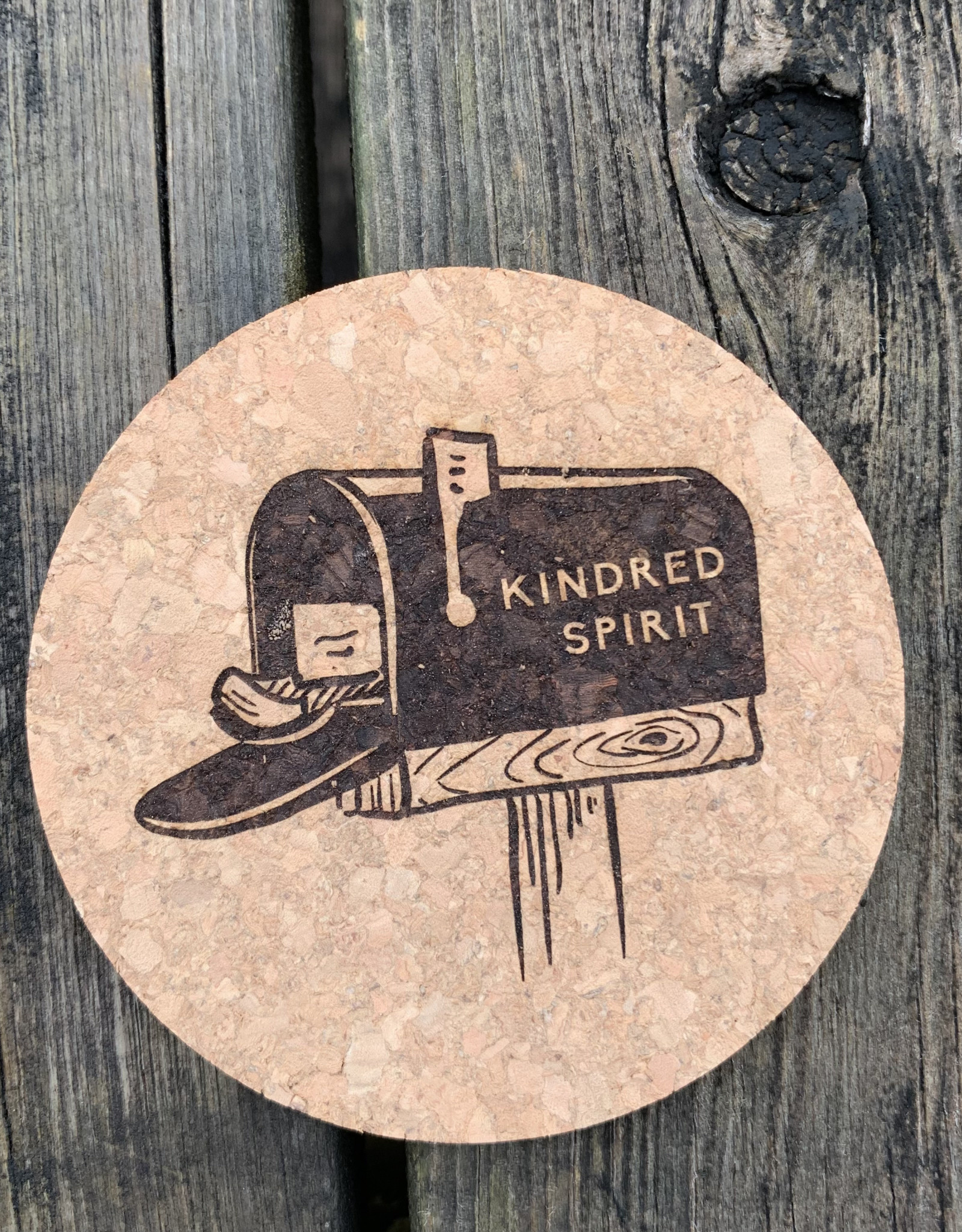 sbncfish KINDRED SPIRIT ROUND CORK COASTER